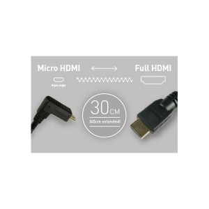 Atomos Micro HDMI auf HDMI Spiralkabel, ca. 30-45 cm lang