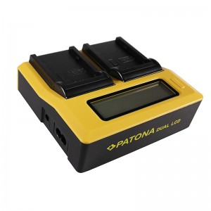 PATONA Dual LCD Ladegerät mit Sony NP-F Akku-Mount
